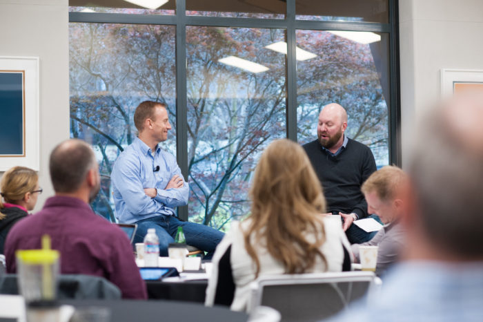 Marc Andreessen and Don Faul speak to BreakLine participants at Andreessen Horowitz